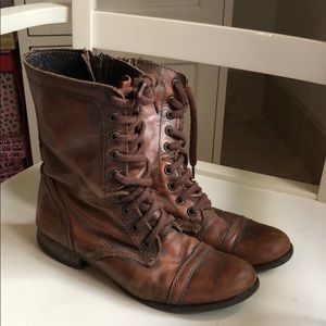 👢 Steve Madden Brown Leather Combat Boots